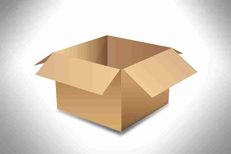 Desenho de caixa de papelão aberta para iniciar a coleta de mercadoria